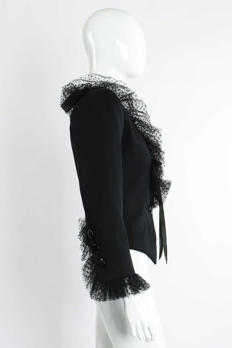 Vintage Yves Saint Laurent YSL Tulle Ruffle Collar Jacket on Mannequin Side at Recess LA