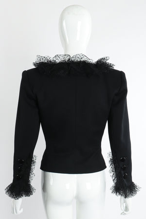Vintage Yves Saint Laurent YSL Tulle Ruffle Collar Jacket on Mannequin Back at Recess LA