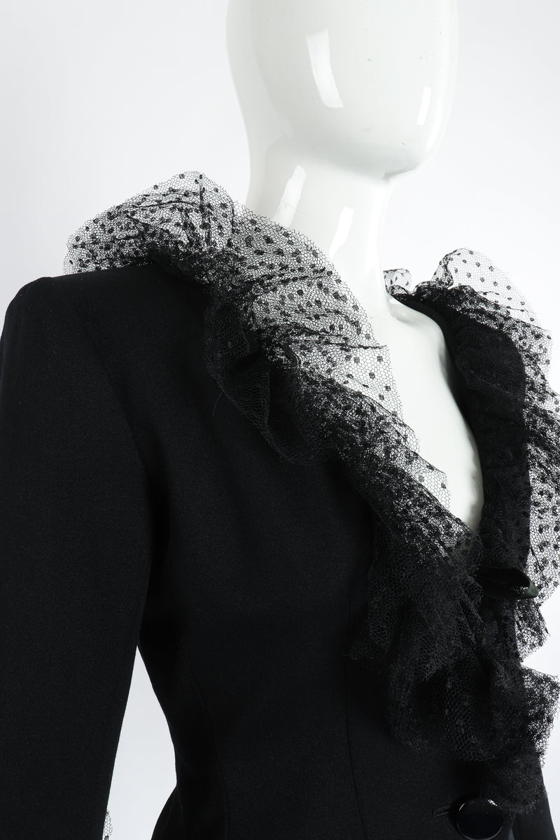 Vintage Yves Saint Laurent YSL Tulle Ruffle Collar Jacket on Mannequin neckline at Recess Los Angeles