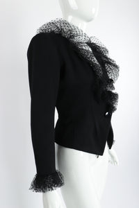 Vintage Yves Saint Laurent YSL Tulle Ruffle Collar Jacket on Mannequin Angle at Recess Los Angeles