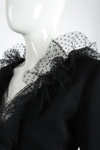 Vintage Yves Saint Laurent YSL Tulle Ruffle Collar Jacket on Mannequin Collar at Recess LA