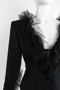 Vintage Yves Saint Laurent YSL Tulle Ruffle Collar Jacket on Mannequin Shoulder at Recess LA