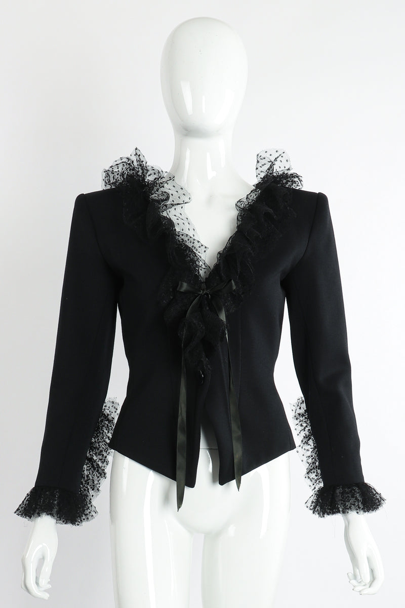 Vintage Yves Saint Laurent YSL Tulle Ruffle Collar Jacket on Mannequin Front at Recess LA