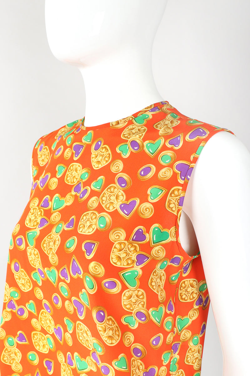 Recess Designer Consignment Vintage Yves Saint Laurent YSL Baroque Candy Hearts Silk Tank Los Angeles Resale Recycled