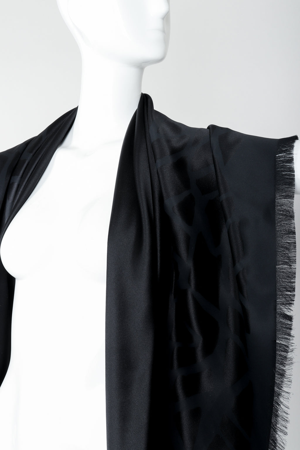 Vintage Yves Saint Laurent YSL Rive Gauche Oversized Noir Silk Scarf on Mannequin at Recess