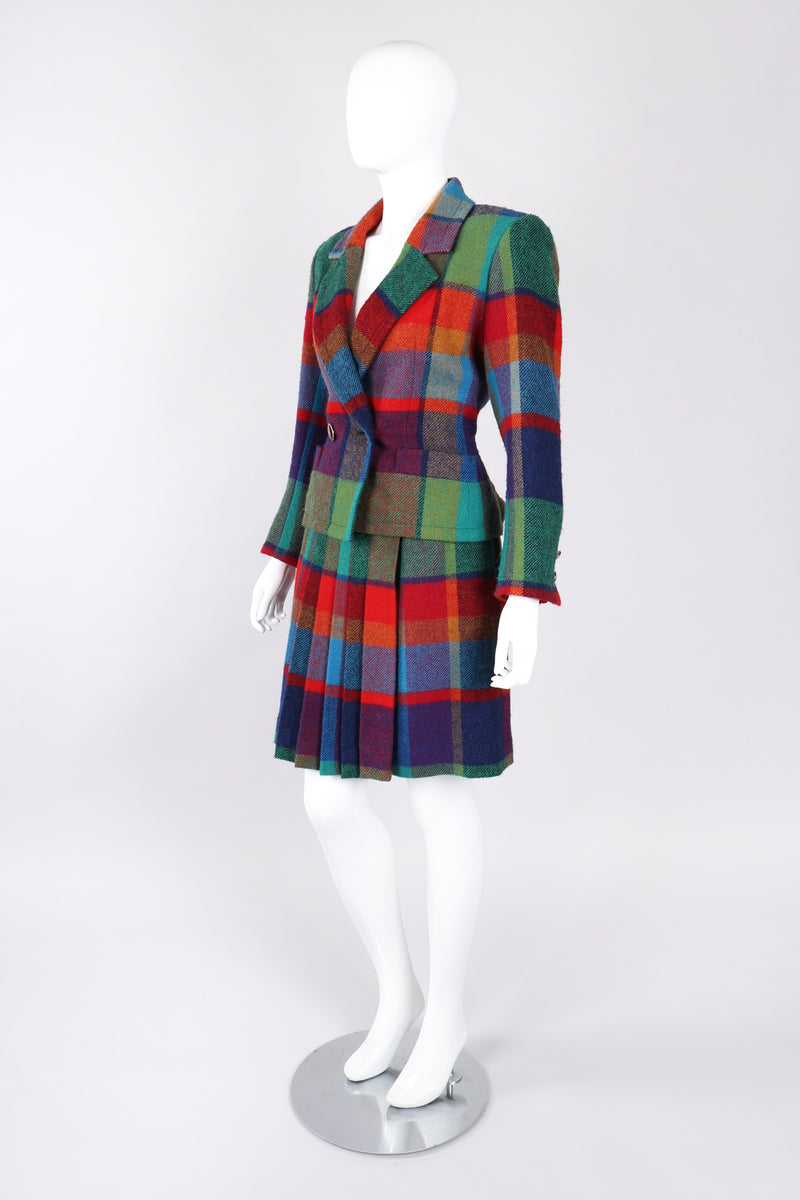 Recess Los Angeles Vintage Yves Saint Laurent YSL Rive Gauche Tweed Madras Plaid Jacket & Skirt Suit Set