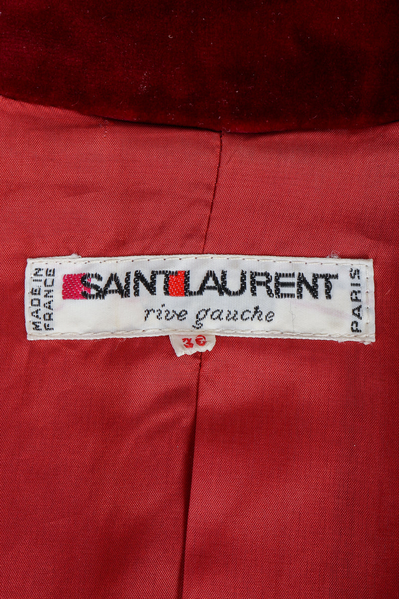 Vintage Yves Saint Laurent YSL label on red