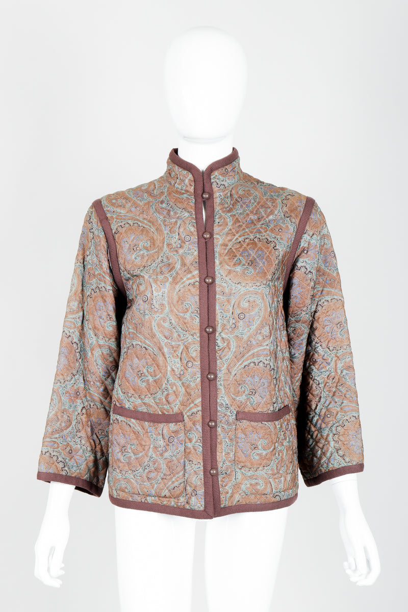 Vintage Yves Saint Laurent YSL Quilted Silk Paisley Jacket on mannequin front at Recess