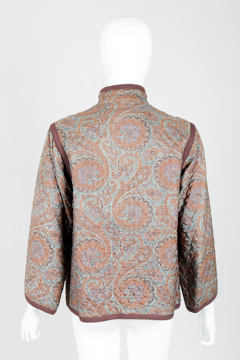 Vintage Yves Saint Laurent YSL Quilted Silk Paisley Jacket on mannequin back at Recess
