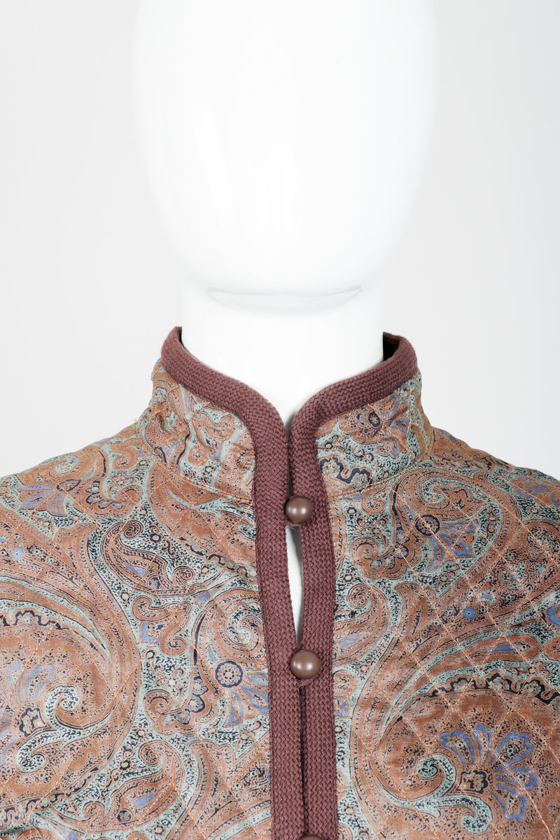 Vintage Yves Saint Laurent YSL Quilted Silk Paisley Jacket on mannequin neckline at Recess