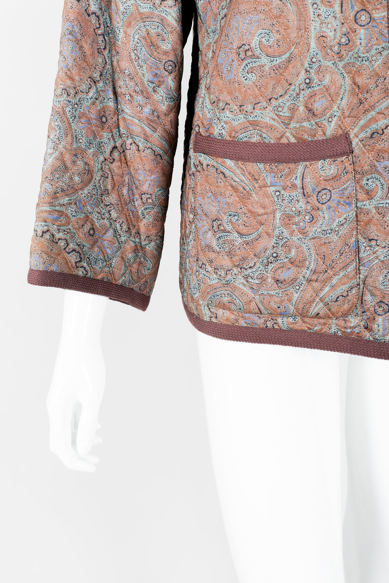 Vintage Yves Saint Laurent YSL Quilted Silk Paisley Jacket on mannequin sleeve at Recess