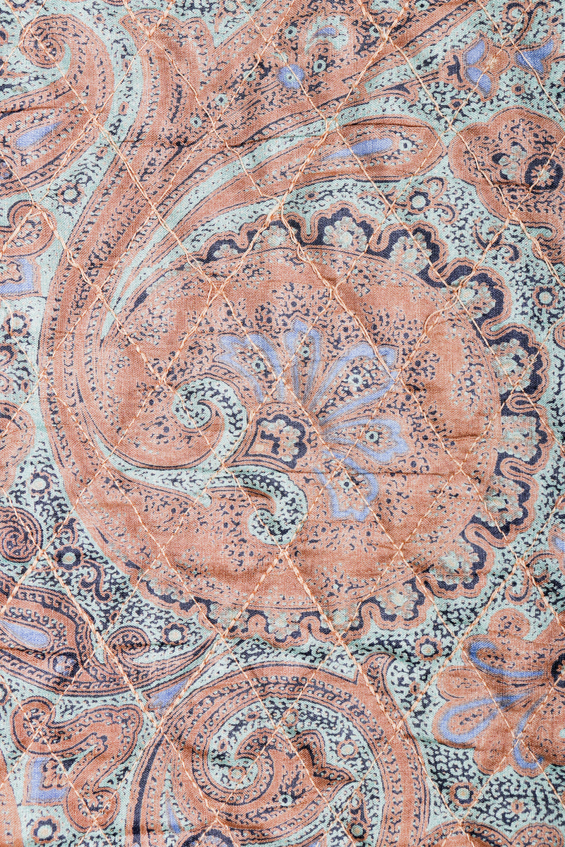 Vintage Yves Saint Laurent YSL Quilted Silk Paisley fabric detail