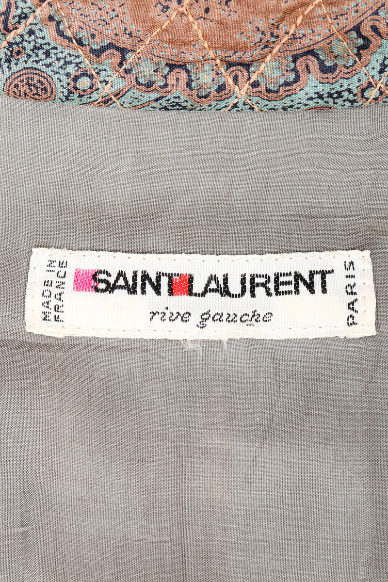 Vintage Yves Saint Laurent YSL Rive Gauche Label on taupe