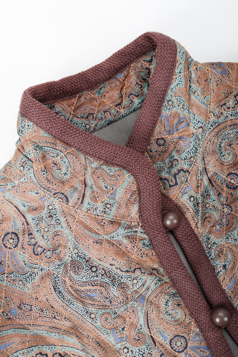 Vintage Yves Saint Laurent YSL Quilted Silk Paisley Jacket neckline detail at Recess