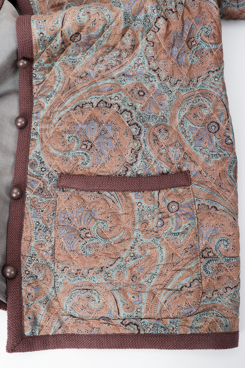 Vintage Yves Saint Laurent YSL Quilted Silk Paisley Jacket pocket detail at Recess