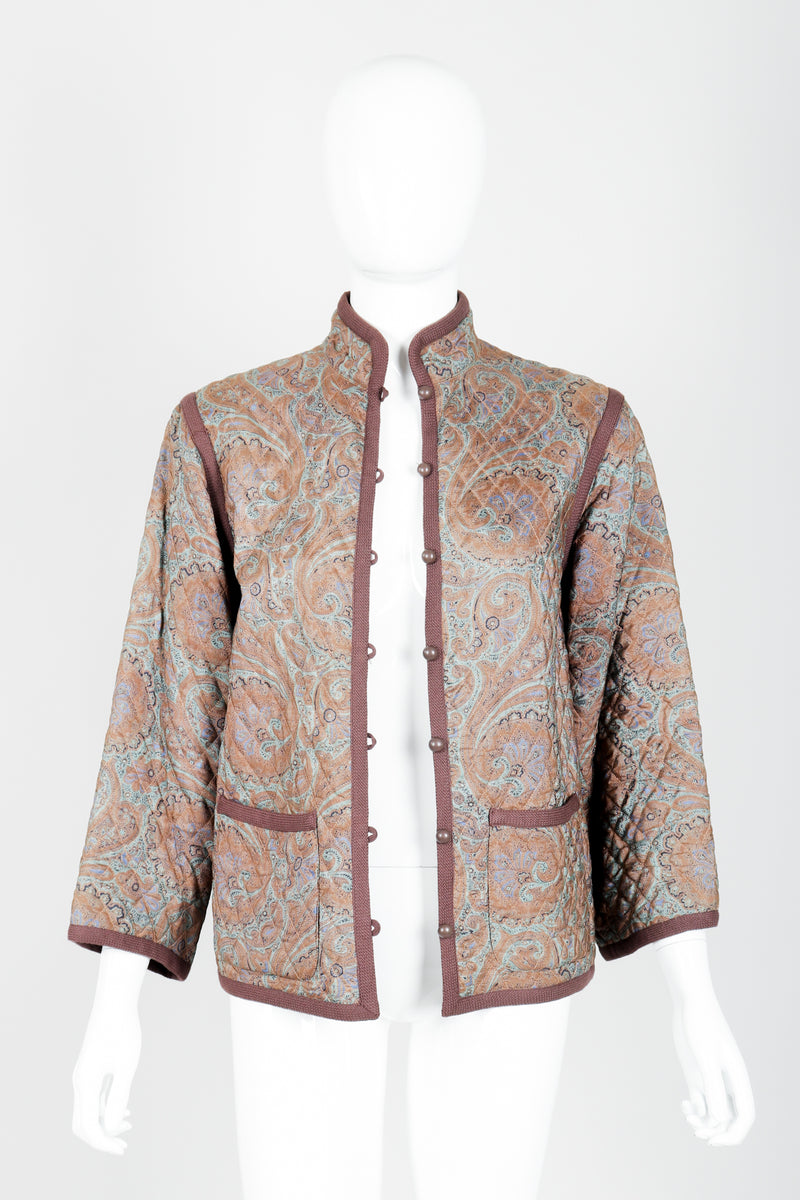 Vintage Yves Saint Laurent YSL Quilted Silk Paisley Jacket on mannequin open at Recess