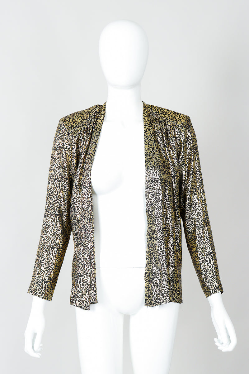 Vintage Yves Saint Laurent YSL Gold Squiggle Wrap Blouse on Mannequin, open at Recess Los Angeles