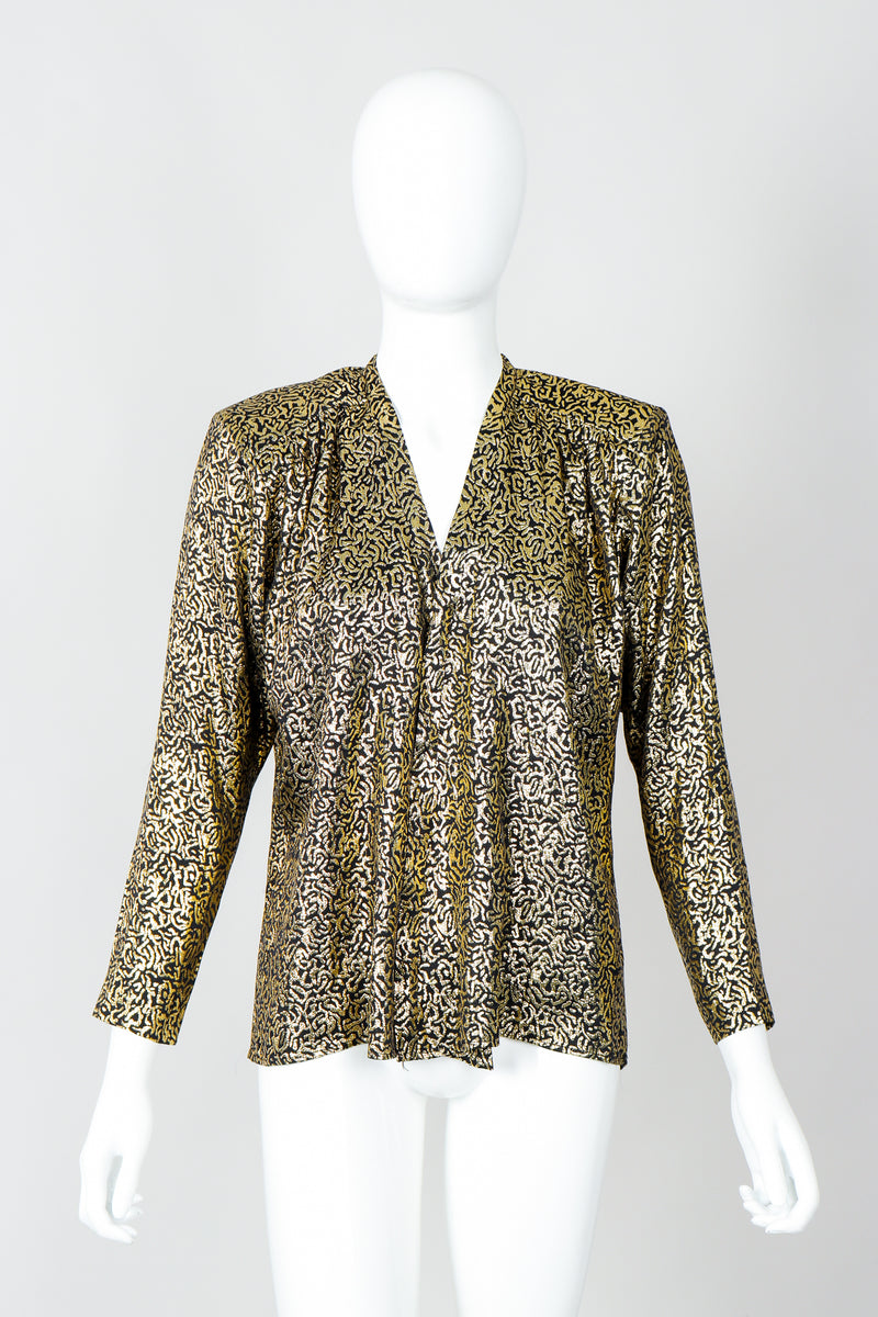 Vintage Yves Saint Laurent YSL Gold Squiggle Wrap Blouse on Mannequin, front at Recess Los Angeles