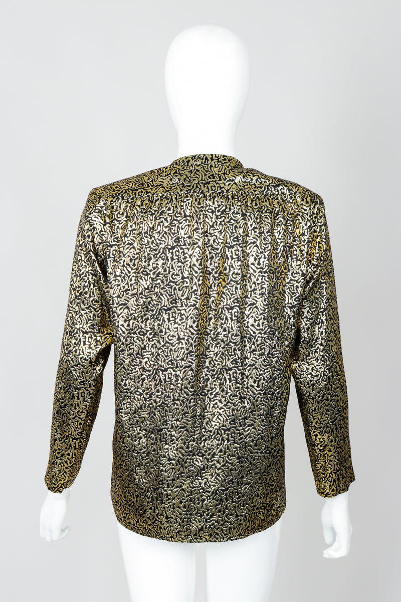 Vintage Yves Saint Laurent YSL Gold Squiggle Wrap Blouse on Mannequin, back at Recess Los Angeles
