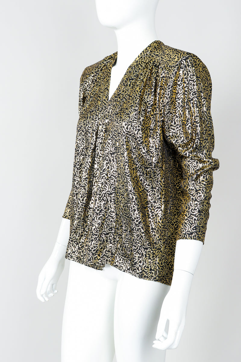 Vintage Yves Saint Laurent YSL Gold Squiggle Wrap Blouse on Mannequin, side at Recess Los Angeles