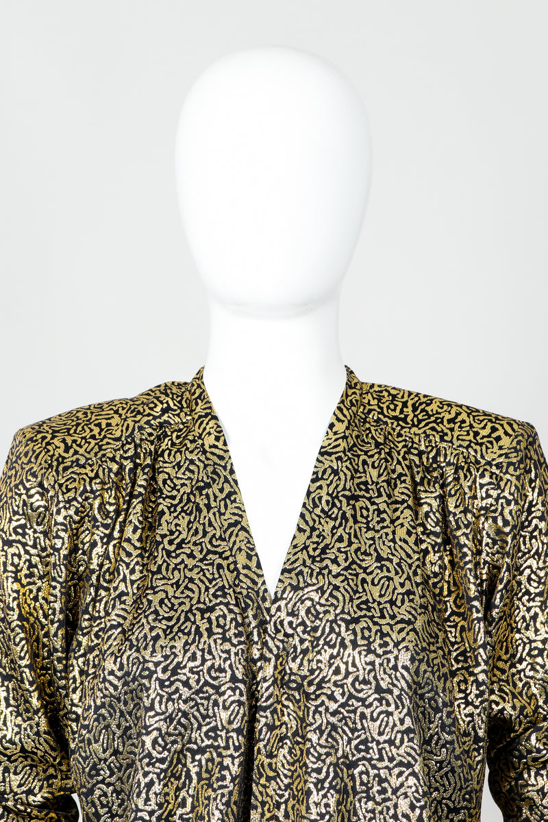 Vintage Yves Saint Laurent YSL Gold Squiggle Wrap Blouse on Mannequin, neck at Recess Los Angeles