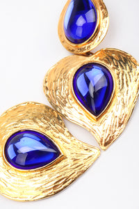 Recess Los Angeles Designer Consignment Vintage Yves Saint Laurent YSL Majorelle Blue Carved Leaf Heart Drop Earrings