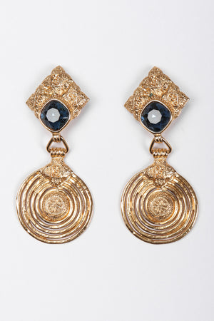 Recess Los Angeles Vintage Yves Saint Laurent YSL Gold Etruscan Swirl Drop Earrings