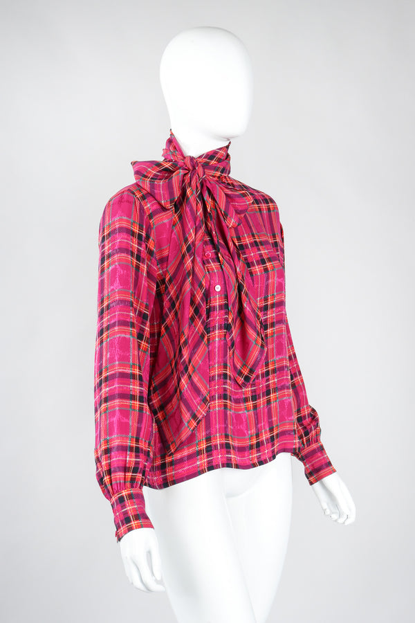 Recess Los Angeles Vintage Yves Saint Laurent YSL Pink Plaid Silk Bow Blouse