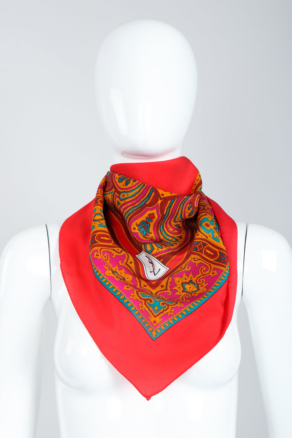 Recess Vintage Yves Saint Laurent YSL Red Arabesque Border Gauze Scarf on Mannequin