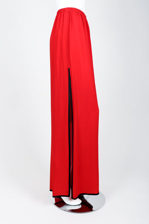 Vintage Yves Saint Laurent YSL Side Slit Palazzo Pant on Mannequin side 1 at Recess