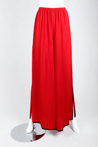 Vintage Yves Saint Laurent YSL Side Slit Palazzo Pant on Mannequin front 1 at Recess