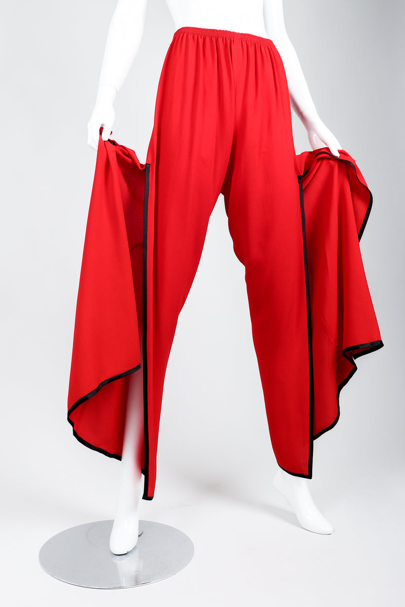 Vintage Yves Saint Laurent YSL Side Slit Palazzo Pant on Mannequin hands at Recess