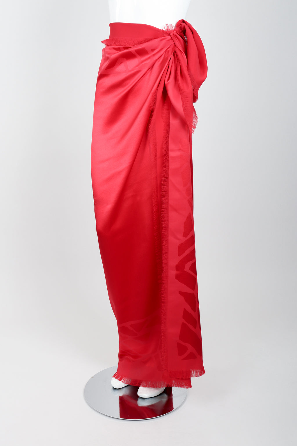 Vintage YSL Yves Saint Laurent Rive Gauche Oversized Red Silk Scarf on mannequin at Recess