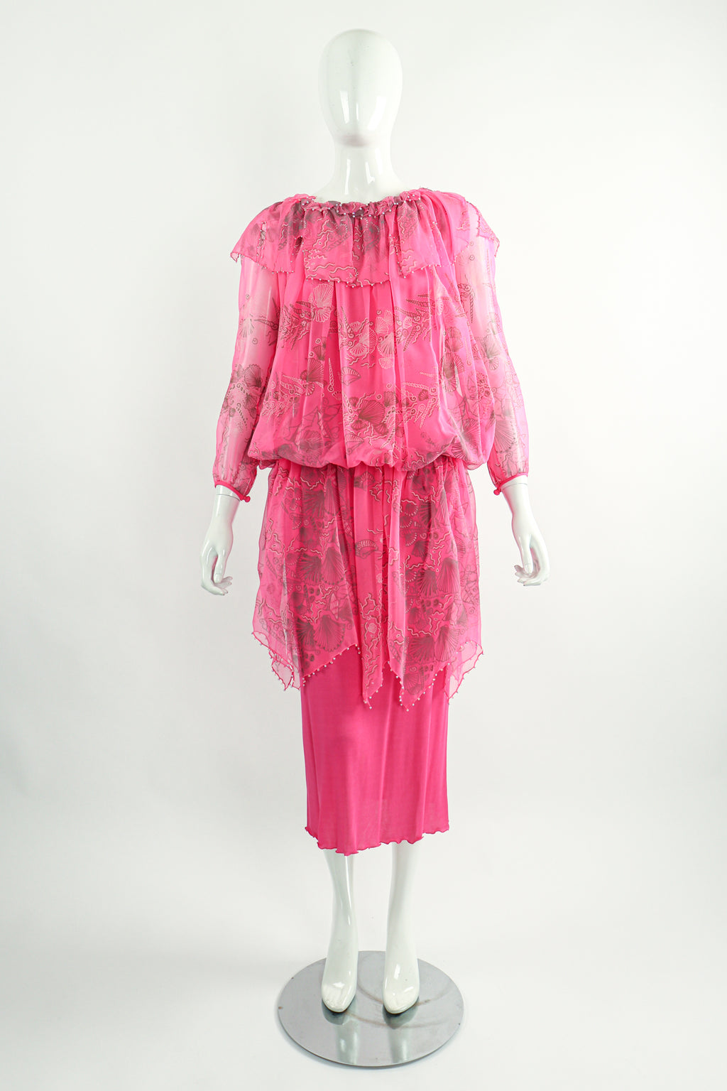 Vintage Zandra Rhodes Painted Seashell Blouson Chiffon Dress on Mannequin Front at Recess LA