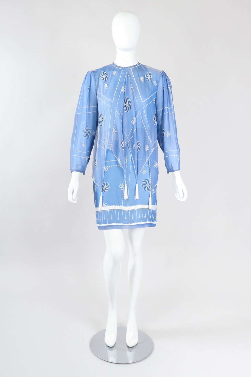 Recess Los Angeles Vintage Rare Zandra Rhodes Sky Blue Pinwheel Painted Chiffon Tassel Dress