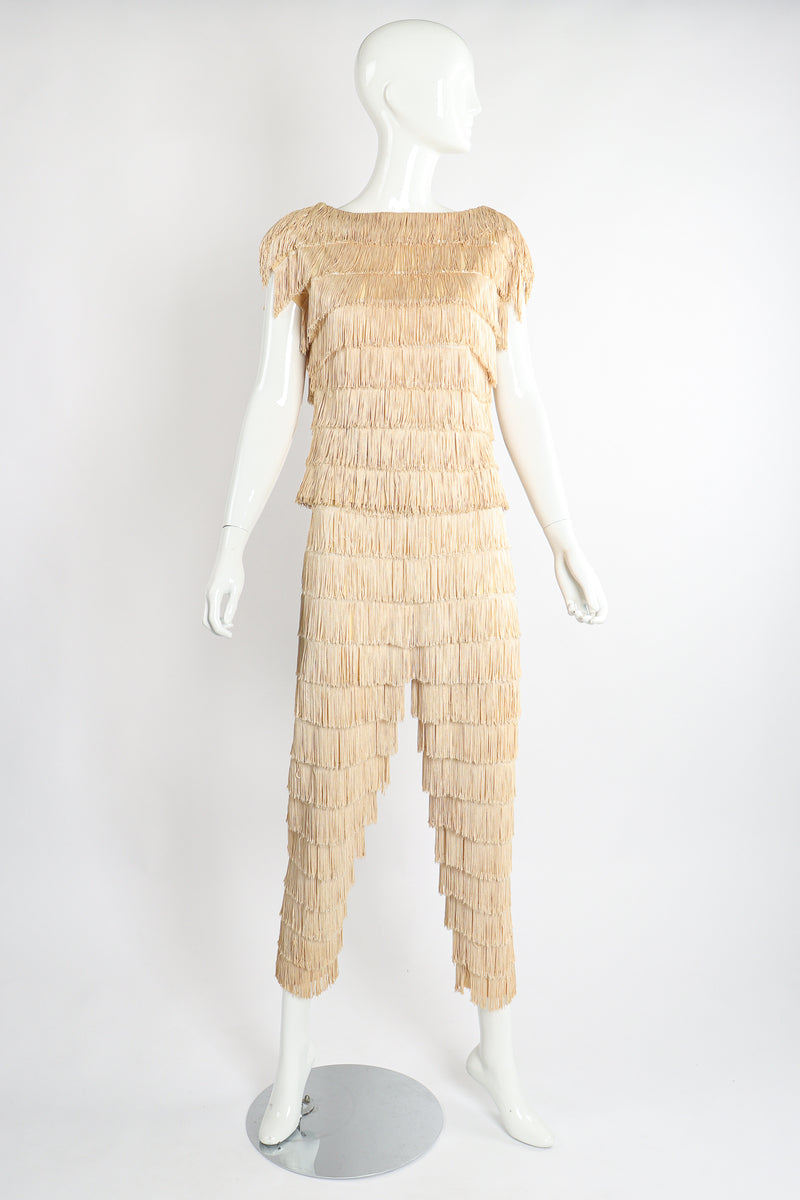 Vintage Zolot Wedding Bridal Ecru Fringed Top & Pant Set on Mannequin front at Recess LA