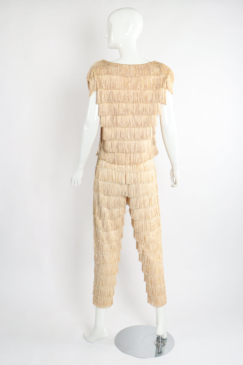 Vintage Zolot Wedding Bridal Ecru Fringed Top & Pant Set on Mannequin back at Recess LA