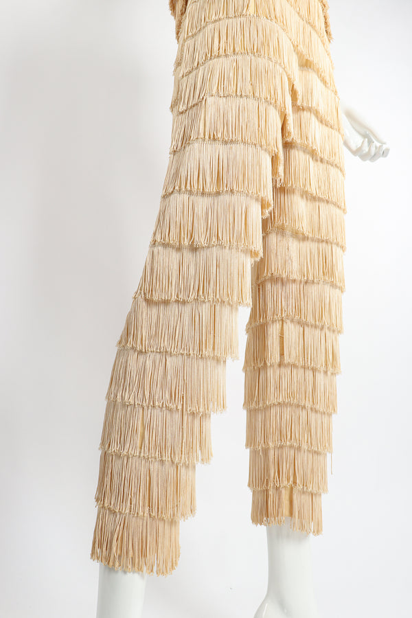 Vintage Zolot Wedding Bridal Ecru Fringed Top & Pant Set on Mannequin leg crop at Recess LA