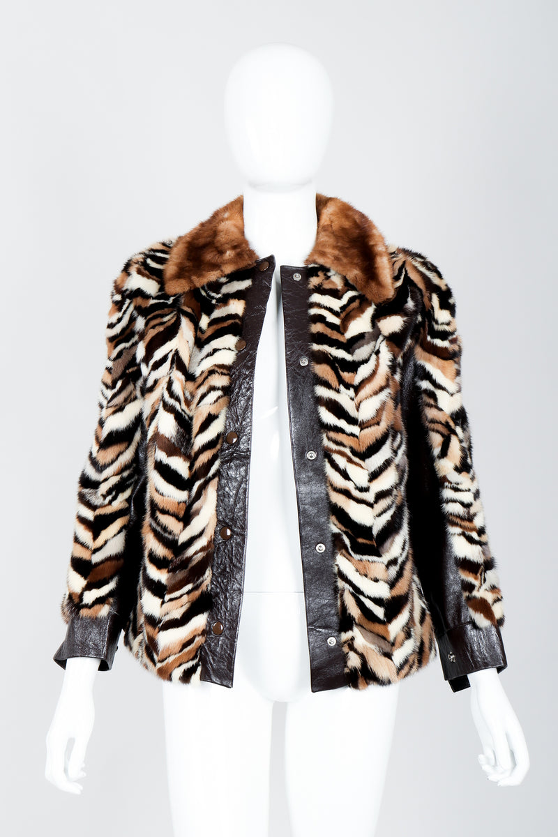 Vintage Zoo Furs Chevron Mink Fur Jacket on Mannequin open at Recess Los Angeles