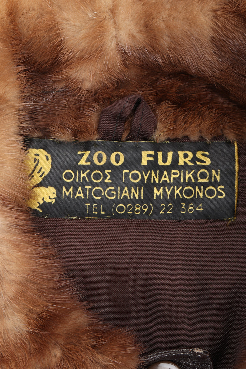 Vintage Zoo Furs label on fur