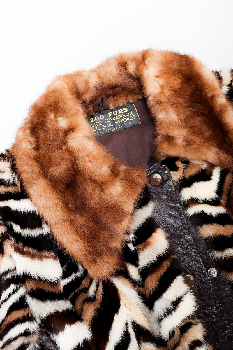 Vintage Zoo Furs Chevron Mink Fur Jacket collar detail at Recess Los Angeles