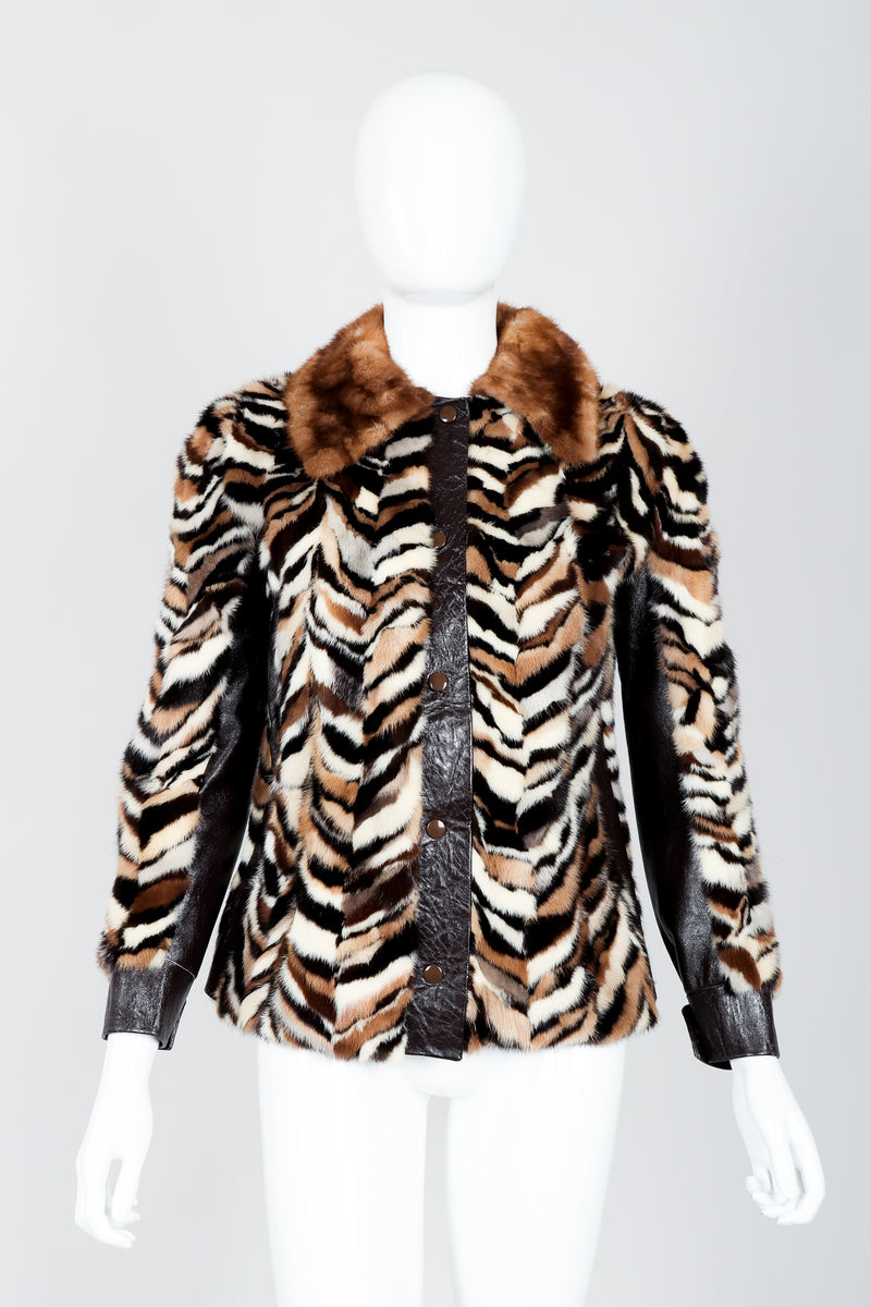 Vintage Zoo Furs Chevron Mink Fur Jacket on Mannequin front at Recess Los Angeles