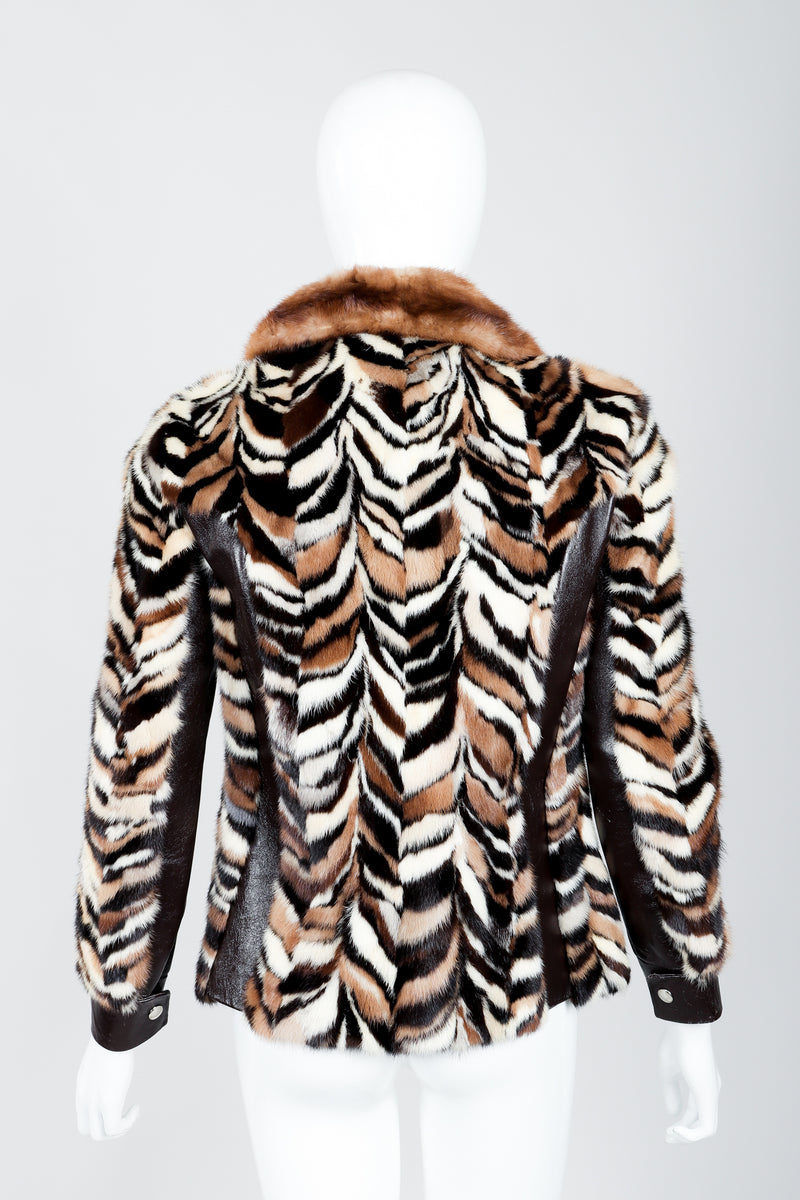Vintage Zoo Furs Chevron Mink Fur Jacket on Mannequin back at Recess Los Angeles