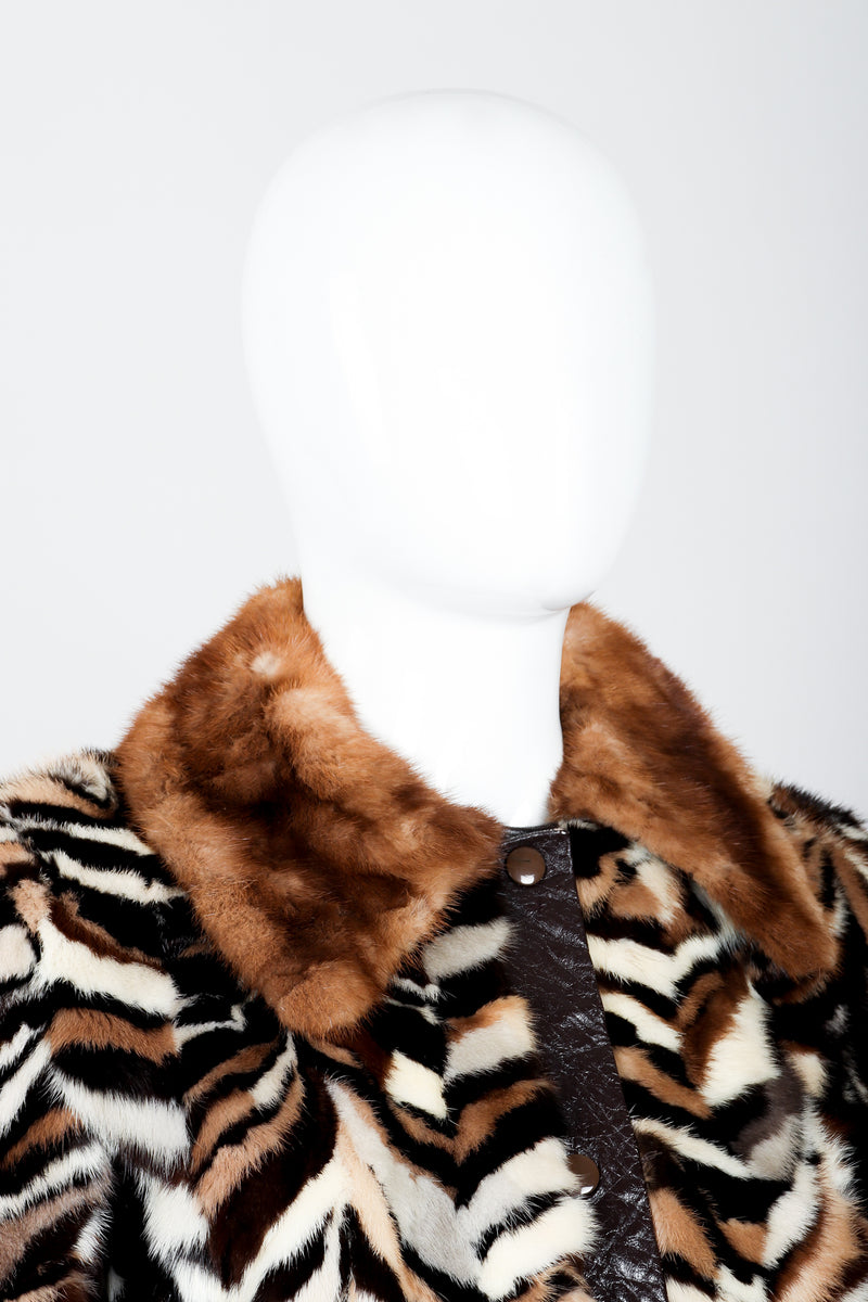 Vintage Zoo Furs Chevron Mink Fur Jacket on Mannequin collar at Recess Los Angeles