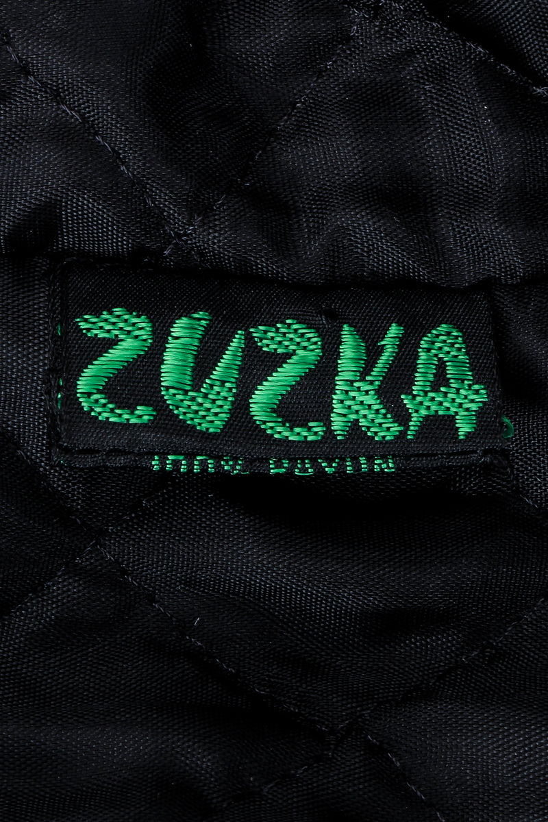 Vintage Zuzka Label on black quilted fabric