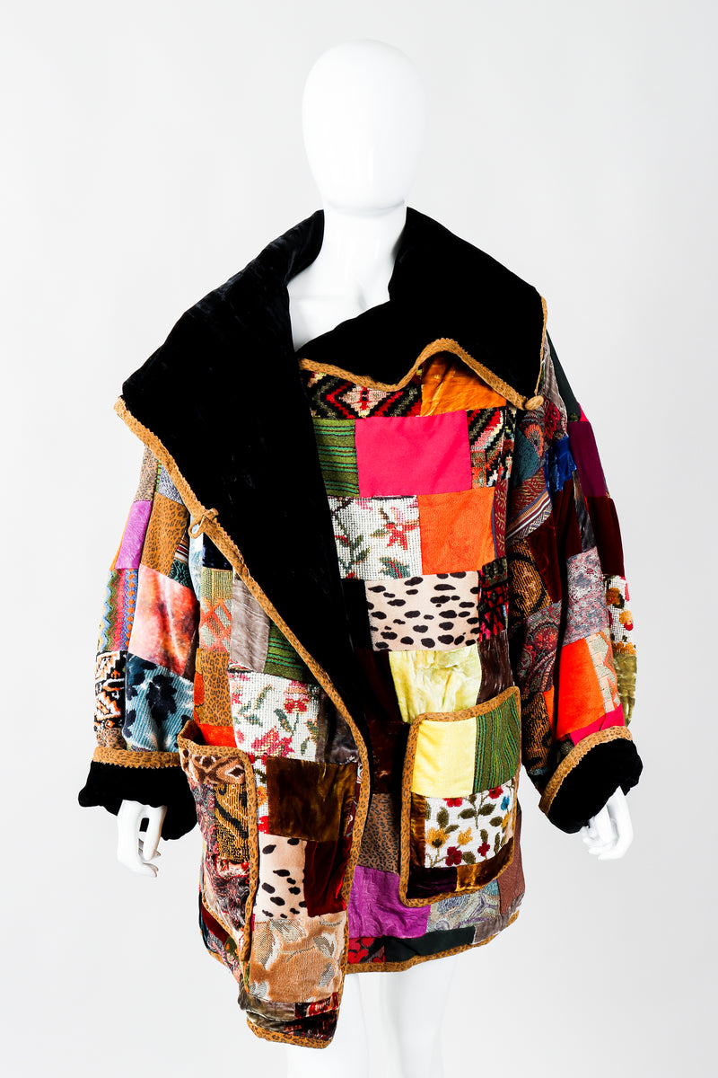 Vintage Zuzka Patchwork Shawl Collar Wrap Coat on Mannequin front collar, at Recess Los Angeles