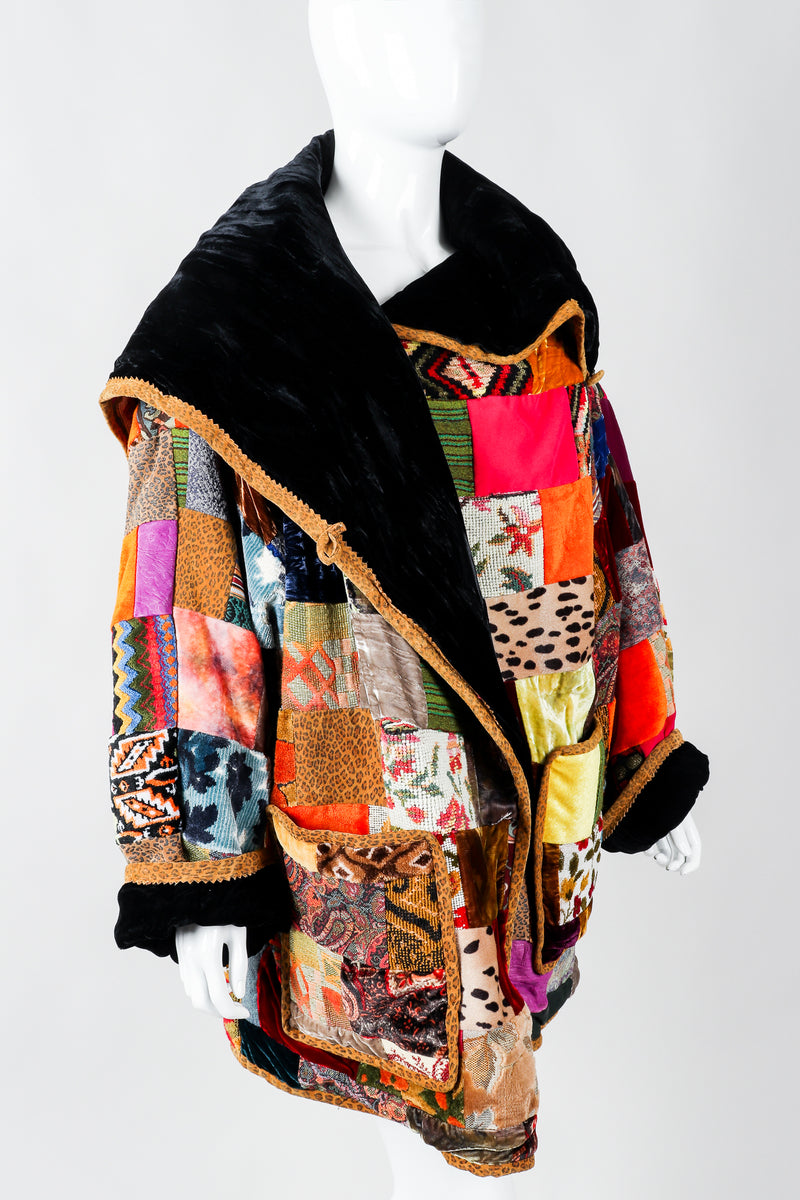Vintage Zuzka Velvet Patchwork Shawl Collar Wrap Coat on Mannequin crop, at Recess Los Angeles
