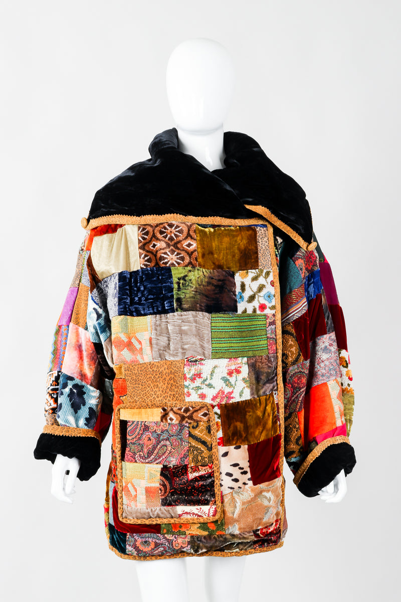 Vintage Zuzka Velvet Patchwork Shawl Collar Wrap Coat on Mannequin front, at Recess Los Angeles
