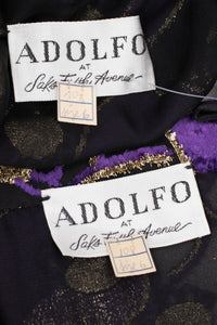 Adolfo Sheer Lamé Velvet Top & Skirt Set