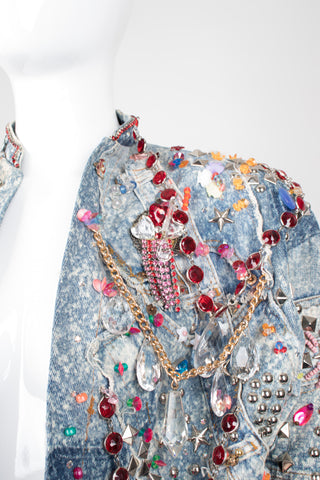 Tony Alamo Rare Embellished Jeweled Crop Denim Jacket